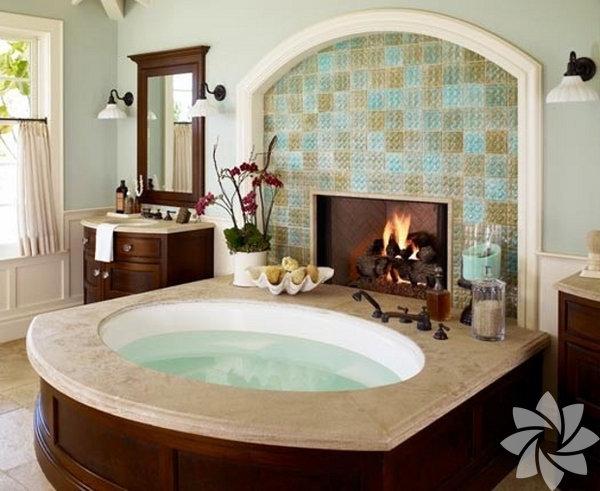 Şömineli banyolar