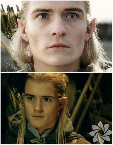 Filmde gözleri renkli olan Legolas'ın, ikinci fotoğrafta kendi göz rengini göreceksiniz. Dünyaca ünlü 'Yüzüklerin Efendisi' filminde bu detay herkesin gözünden kaçmış.